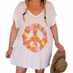 Tunique peace and love fleur grande taille– soobysophie.com