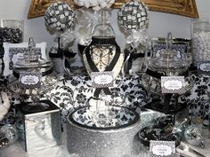 candy buffet in black and white candy buffets l sweetie tables l dessert tables l handmade truffles and chocolate gifts by the sweetie factory