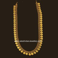 Plain gold simple designer long kasu mala or kasulaperu with small gold coins embossing Ram darbar, varahala mala or kasu haram vbj Gold Bangles Design, Gold Earrings Designs, Gold Jewellery Design, Gold Designs, Indian Wedding Jewelry, Bridal Jewelry, Indian Bridal, Gold Rings Jewelry, Jewelery