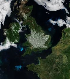 Blooms in the Northeast Atlantic | Suomi NPP Satellite | On May 25, 2017, the Visible Infrared Imaging Radiometer Suite (VIIRS) on the Suomi NPP satellite acquired this image of several phytoplankton blooms in the waters around Britain and France. Increasing sunlight in the spring provides the energy for the floating, microscopic plant-like organisms to bloom in vast numbers.