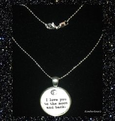 NEW - SILVER I LOVE YOU TO THE MOON & BACK CABOCHON PENDANT NECKLACE #Handmade #Pendant