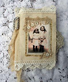 Sweet Sisters Fabric Book with rhinestone brooch