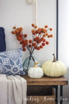 Fall decorating without spending a fortune - use your own color schemes with fall touches!