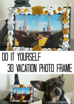 DIY 3D Vacation Photo Frame by IrresistiblePets.com - see the full how to using Mod Podge Collage Clay, Mod Melts and Molds #decoden and mixed media crafts #plaidcrafts #DIY #modpodge