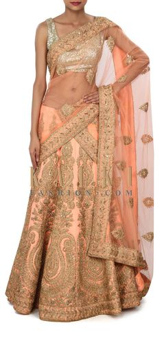 Buy Online from the link below. We ship worldwide (Free Shipping over US$100) Price- $1759 Click Anywhere to Tag http://www.kalkifashion.com/peach-lehenga-enhanced-in-zari-and-kundan-embroidery-only-on-kalki.html