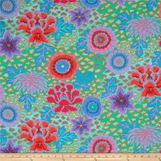 Kaffe Fassett Dream Aqua from @fabricdotcom  Designed by Kaffe Fassett for Rowan, this cotton print is perfect for quilting, apparel and home decor accents. Colors include shades of pink, purple, orange, jade, and blue.