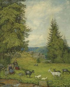Children With Goat Herd Hans Thoma Framed Prints, Canvas Prints, Art Prints, Hans Thoma, Caspar David Friedrich, Expressionist Artists, Cattle, Impressionist, Sheep