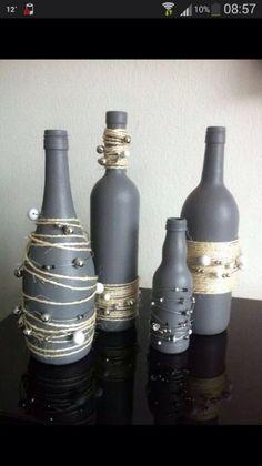 Diy Wine Bottle Crafts diy wine bottle crafts with twine Empty Wine Bottles, Wine Bottle Art, Painted Wine Bottles, Diy Bottle, Bottles And Jars, Glass Bottles, Decorated Bottles, Decorative Wine Bottles, Bottle Lamps