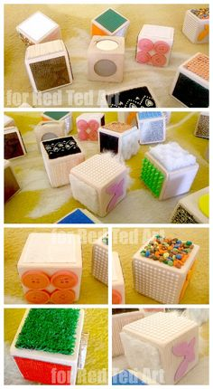 DIY Sensory Blocks - a wonderful sensory toy for your little one, but wouldn't they be GREAT in speech therapy? Close your eyes, touch, now describe how it feels. Use your best vocabulary words for describing! Art Therapy Activities, Sensory Activities, Sensory Play, Activities For Kids, Motor Activities, Diy Sensory Toys, Sensory Tubs, Sensory Blocks, Sensory Boards