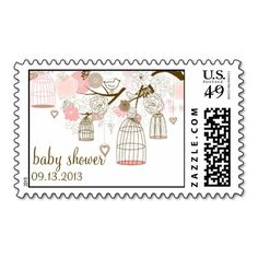 Pink Whimsical Birdcages Baby Shower Postage