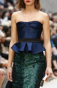 Burberry Prorsum Spring/Summer 2013 :: sequins skirt and jewel-toned peplum