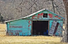 Red to Turquoise old barn