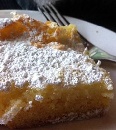 Gooey Butter Cake. Tip: for an added crust, use yellow cake mix, 1 egg, and 1/2cup melted butter.