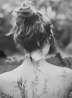 Girl / Landscape - Double Exposure