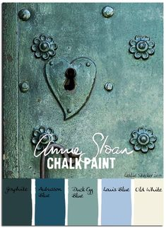 Colorways with Leslie Stocker » Hearts and Flowers - ASCP Graphite, Aubusson Blue, Duck Egg Blue, Louis Blue, Old White by barbara.stone