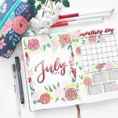 """2,883 Likes, 30 Comments - Yu   Bullet Journal, Studygram (@bluelahe) on Instagram: """"Just uploaded my July plan with me video (link in bio) ❤️ May have exaggerated with the flowers…"""""""