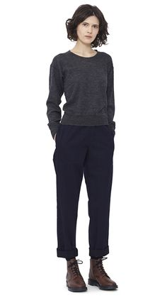 WOMEN AUTUMN WINTER 15 - Charcoal wool/alpaca Thermal T-Shirt MHL, indigo cotton Woven Track Trouser MHL, navy Shetland wool Knee High Sock MHL, brown leather Derby Boot MHL