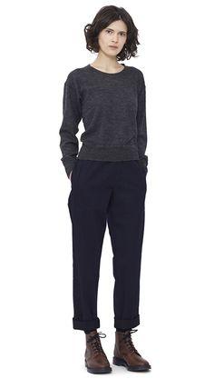 WOMEN AUTUMN WINTER 15 - Charcoal wool/alpaca Thermal T-Shirt MHL, indigo cotton Woven Track Trouser MHL, navy Shetland wool Knee High Sock MHL, brown leather Derby Boot MHL