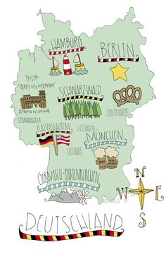 Map of Germany limited edition 11x17 by TheSunnySideUpStudio