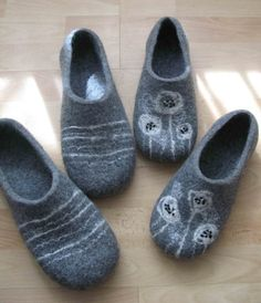 Gray felted slippers for him and her Family style. 2 by VijaVija