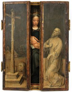 "Old Master Adriaen Isenbrant (FLEMISH, 1490-1551) Triptych ""Coronation of The Virgin"" Oil on Panel #OldMaster #Triptych Virgin Oil, Oak Panels, Grisaille, Old Master, Triptych, Wood Paneling, Auction, Fine Art, Studio"