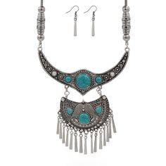 2016 Gold Silver Vintage Statement necklace earrings Turquoise Maxi Necklace For Women