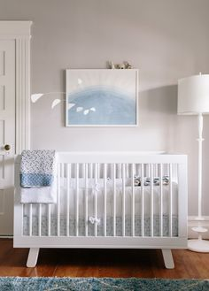 Soft blue and gray baby nursery. What a lovely, calm, peaceful nursery. I kinda want to decorate my own bedroom like this. I can't imagine any baby that would have sleep problems in this room. Grey Nursery Boy, White Nursery, Nursery Neutral, Nursery Room, Kids Bedroom, Nursery Decor, Nursery Ideas, Nautical Nursery, Calming Nursery