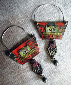 Recycled tin earrings:Love these, they have a tribal feel.