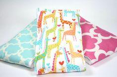Cloth Diaper Burp Cloth Burp Rag Set of 3 Giraffe Love by JuteBaby, $28.00
