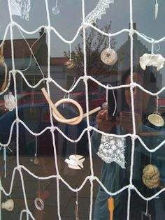 """Instead of a nature shelf, it could be a display piece. I'm a teacher, get me OUTSIDE here!: Nets for Outdoor Play, Display & Learning ("""",) Outdoor Learning, Outdoor Play, Outdoor Activities, Outdoor Education, Outdoor Ideas, Outdoor Decor, Homemade Hammock, Outdoor Nursery, Fishing Shop"""