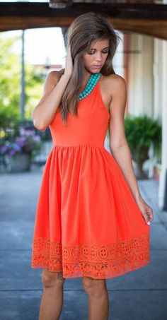 sun dress in tangerine with turquoise necklace