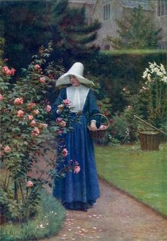 Edmund Blair Leighton was an British Pre-Raphaelite painter Catholic Art, Religious Art, Daughters Of Charity, Art Ancien, Single Rose, Sacred Art, Madame, Beautiful Paintings, Romantic Paintings