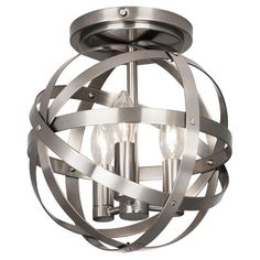 Metal Strap Flush Mount Ceiling Light Note: with the darker paint I think I like the lightless of the nickel finish