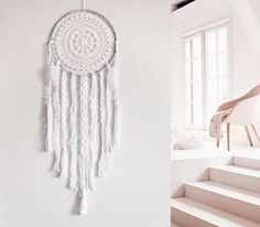 Macrame dream catcher boho bohemian wall hanging white snowy night interior design