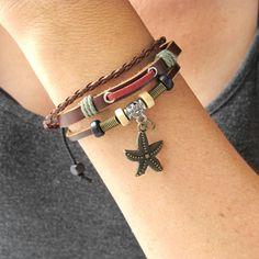 Boho Starfish Bracelet-Starfish Leather Cuff Bracelet-Nautical Jewelry-Bohemian Leather Jewelry-Multi-Strand Leather Bracelet Gift for Her $19.99