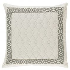 Quilted Ivory Border Throw Pillow