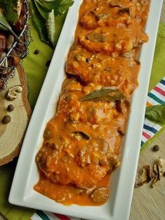 Schab z grzybami w sosie pomidorowym   KuchniaMniam Chicken Wings, Lasagna, Meat, Ethnic Recipes, Food, Posts, Chef Recipes, Cooking, Messages