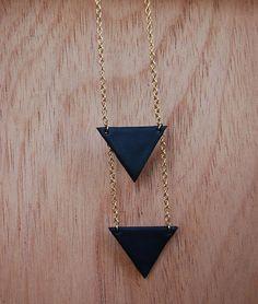 Black Triangles Geometric Necklace