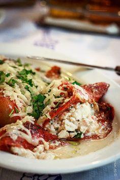 Greek roasted peppers stuffed with farmers and feta cheese ~ bucatar maniac Roasted Peppers, Feta, Cauliflower, Vegetarian, Stuffed Peppers, Cheese, Vegetables, Farmers, Greek