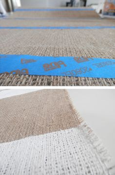 Using paint tape for stripes on burlap.