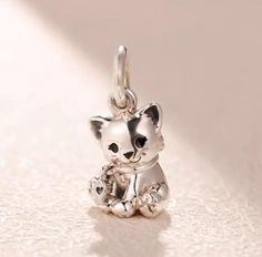 Sterling Silver 7 4.5mm Charm Bracelet With Attached 3D Female Momma Pet Dog With Her Baby Puppy Charm