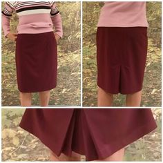 "Burgundy stretchy skirt with unique kick pleat 12 Burgundy stretchy skirt with unique kick pleat, size 12, see pic of back kick pleat, two in inverted pleats on each side if center back hem, 2 1/2"" wide waist band 64% polyester, 32% rayon, 4% spandex,   35"" waist, 22"" length.  Bundle with matching tops and burgundy blazer in this closet New York & Company Skirts"