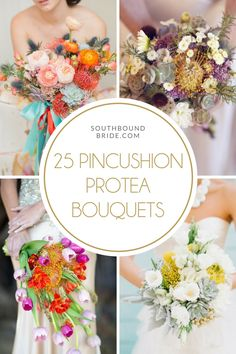 25 Fresh Pincushion Protea Bouquets   SouthBound Bride