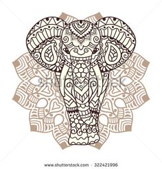 Decorative elephant illustration. Indian theme with ornaments. Vector isolated…