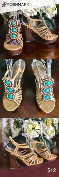 """☀️Soda Size 8.5 Wedges These fun wedges are great with jeans, maxi dresses, skirts or any other pairing you can think of, Heel 4.5"""",  a few scuff marks, very good condition Soda Shoes Wedges"""