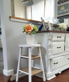 Repurposed stool into side table
