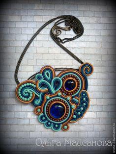 Купить Колье Фентези - сутажная техника, сутажное украшение, пластика, полимерная глина, стеклянные бусины
