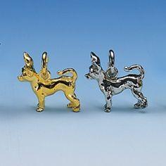 Anhänger Chihuahua kurzhaarig Breite 16 mm / Höhe 15 mm Silbergewicht: 3,2 g