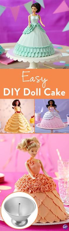 How to Make a Doll Cake - Use the Wilton Wonder Mold Doll Cake Kit to easily create elegant 3D-shaped doll cakes! The kit contains a pan, rod stand, 7 in. doll pick and instructions. Perfect for princess parties and birthday celebrations!