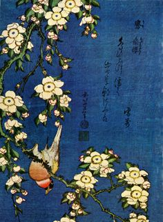Bullfinch And Drooping Cherry Tree--Hokusai (1760-1849)
